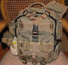 maxpedition backpack on top of a chair